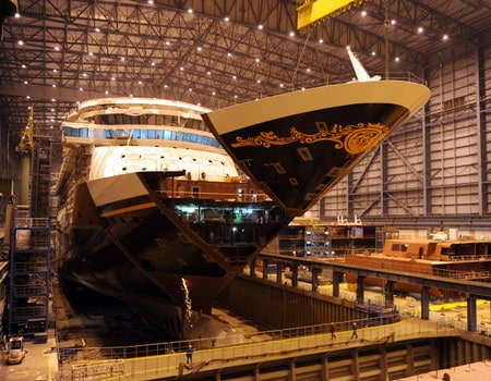 Disney Cruise Line Adds Final Building Block To New Cruise Ship - Building a cruise ship