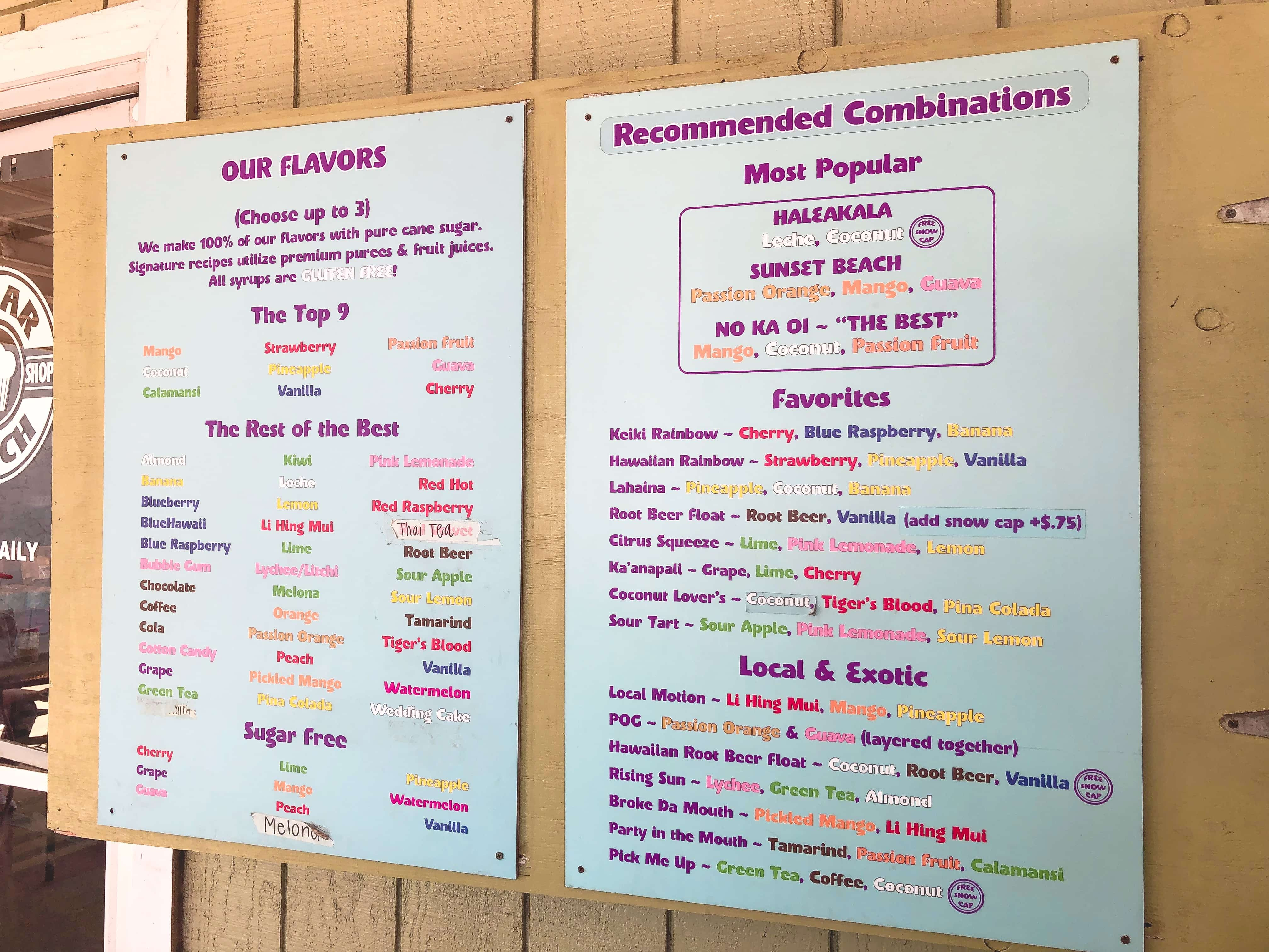 Ululani's shave ice flavors