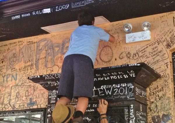 Every square inch of surface space at Gino's East is covered with patron's signatures, including places that can only be reached by standing on someone's shoulders.