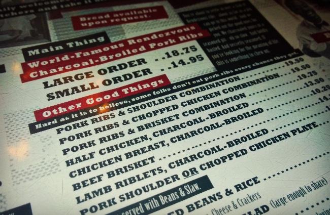 Charlie Vergos' Rendezvous menu