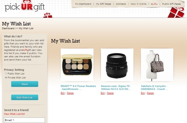 pick ur gift wishlist