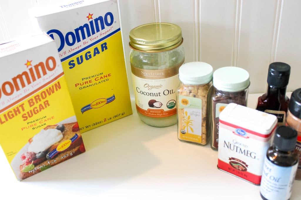 DIY Gingerbread Sugar Scrub ingredients