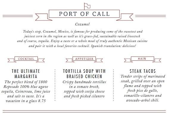 carnival port of call menu