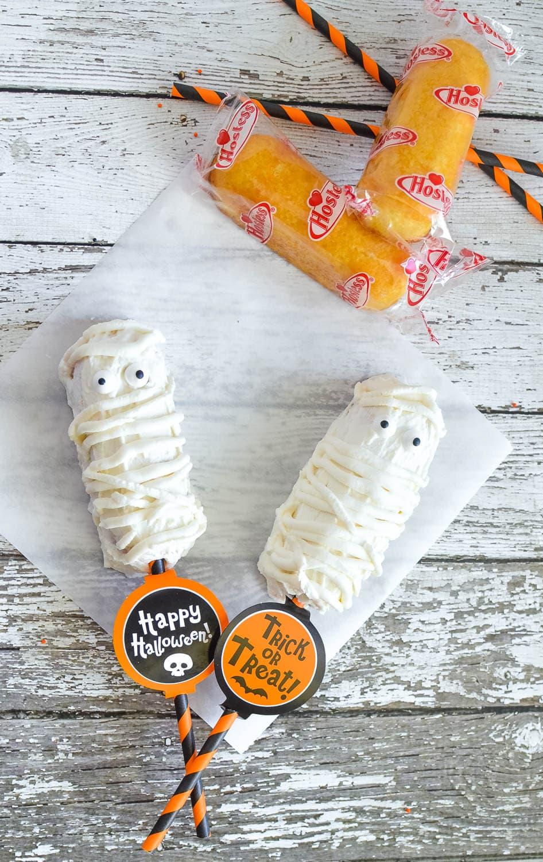 Mummy Twinkies Pops Recipe Chocolate Covered Twinkies for Halloween