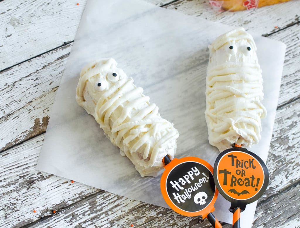 Mummy Twinkies Pops Recipe | Chocolate Covered Twinkies for Halloween