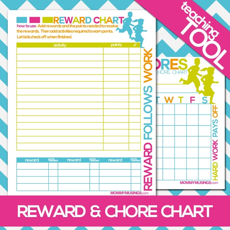 Printable Kids Chore  Rewards Chart