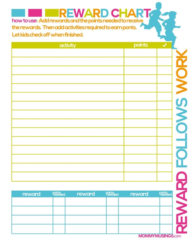 Kids Reward Calendar : Free printable kids chore rewards chart