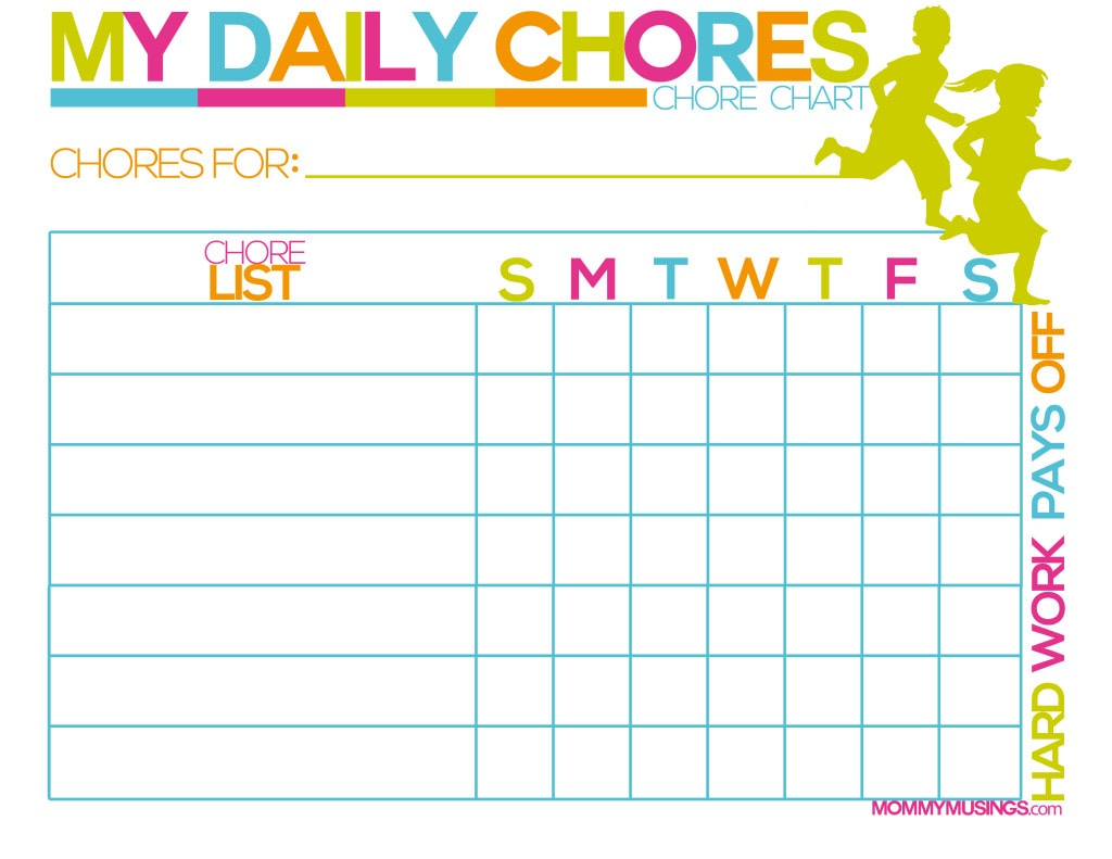 graphic about Printable Job Chart titled No cost Printable Young children Chore Advantages Chart