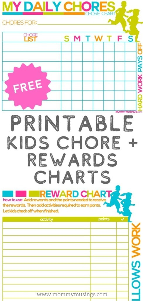 free printable chore chart for kids
