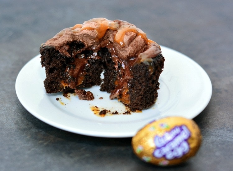 Caramel Cadbury Eggs Cupcakes