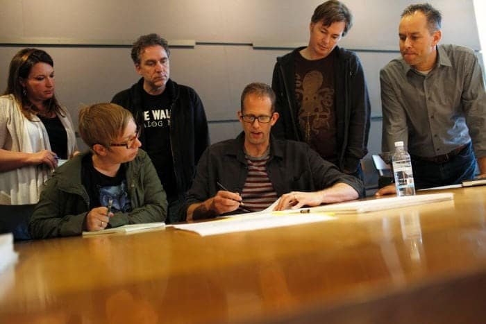 "A day in the life of ""Inside Out"" Director Pete Docter (center) with (left to right) Angelique Reisch, Tasha Sounart, Shawn Krause, Victor Navone and Producer Jonas Rivera, on April 16, 2014 at Pixar Animation Studios in Emeryville, Calif. (Photo by Deborah Coleman / Pixar)"