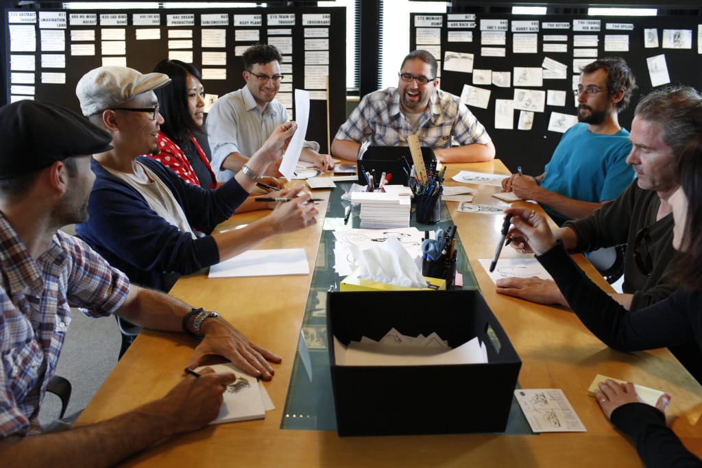 The Inside Out story team, led by Story Supervisor Josh Cooley, as seen on May 15, 2014 at Pixar Animation Studios in Emeryville, Calif. (Photo by Deborah Coleman / Pixar)