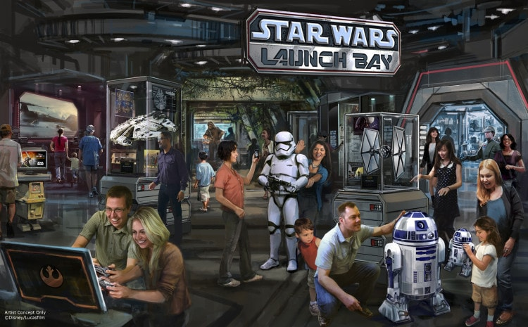 Star Wars Launch Bay Coming to Disneyland Resort and Walt Disney World Resort -- This interactive experience will take guests into the upcoming film, Star Wars: The Force Awakens, with special exhibits and peeks behind the scenes, including opportunities to visit with new and favorite Star Wars characters, special merchandise and food offerings. Star Wars Launch Bay will be located in the Animation Courtyard at DisneyÕs Hollywood Studios and in Tomorrowland at Disneyland park. (Disney Parks)
