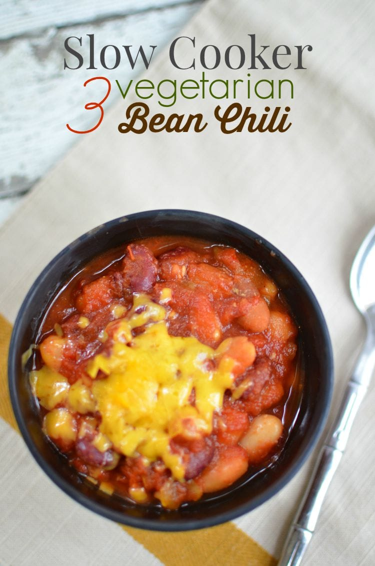 Slow Cooker Vegetarian Three-Bean Chili Recipe