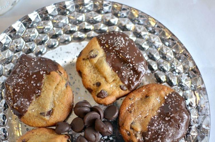 Dark Chocolate & Sea Salt Dipped Chocolate Chip Cookies