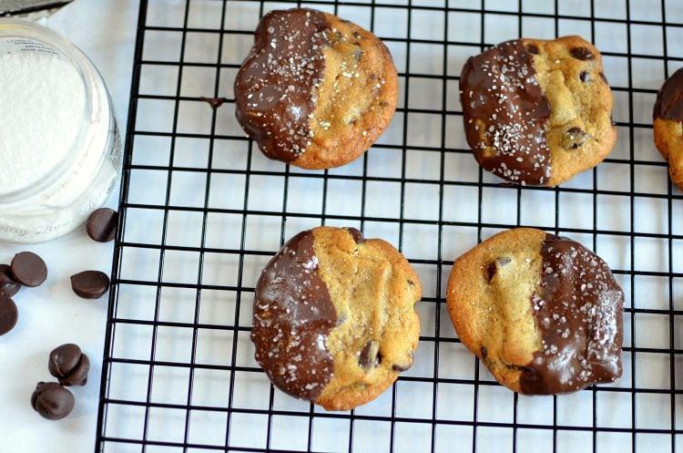 Dark Chocolate & Sea Salt Dipped Chocolate Chip Cookies Recipe
