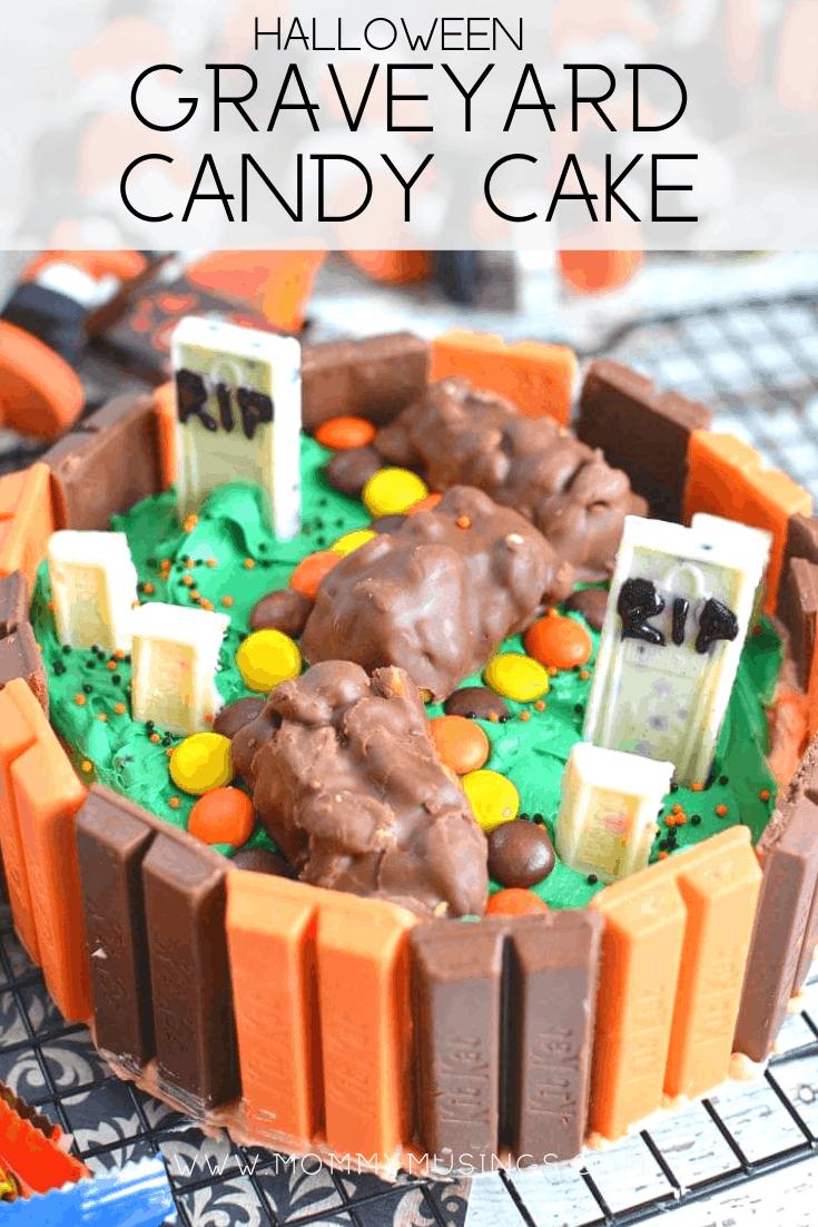 halloween graveyard kit kat cake