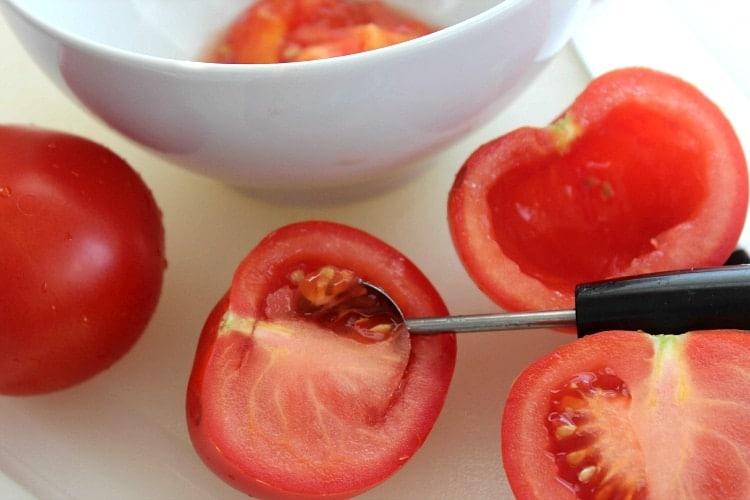 melon baller tomatoes