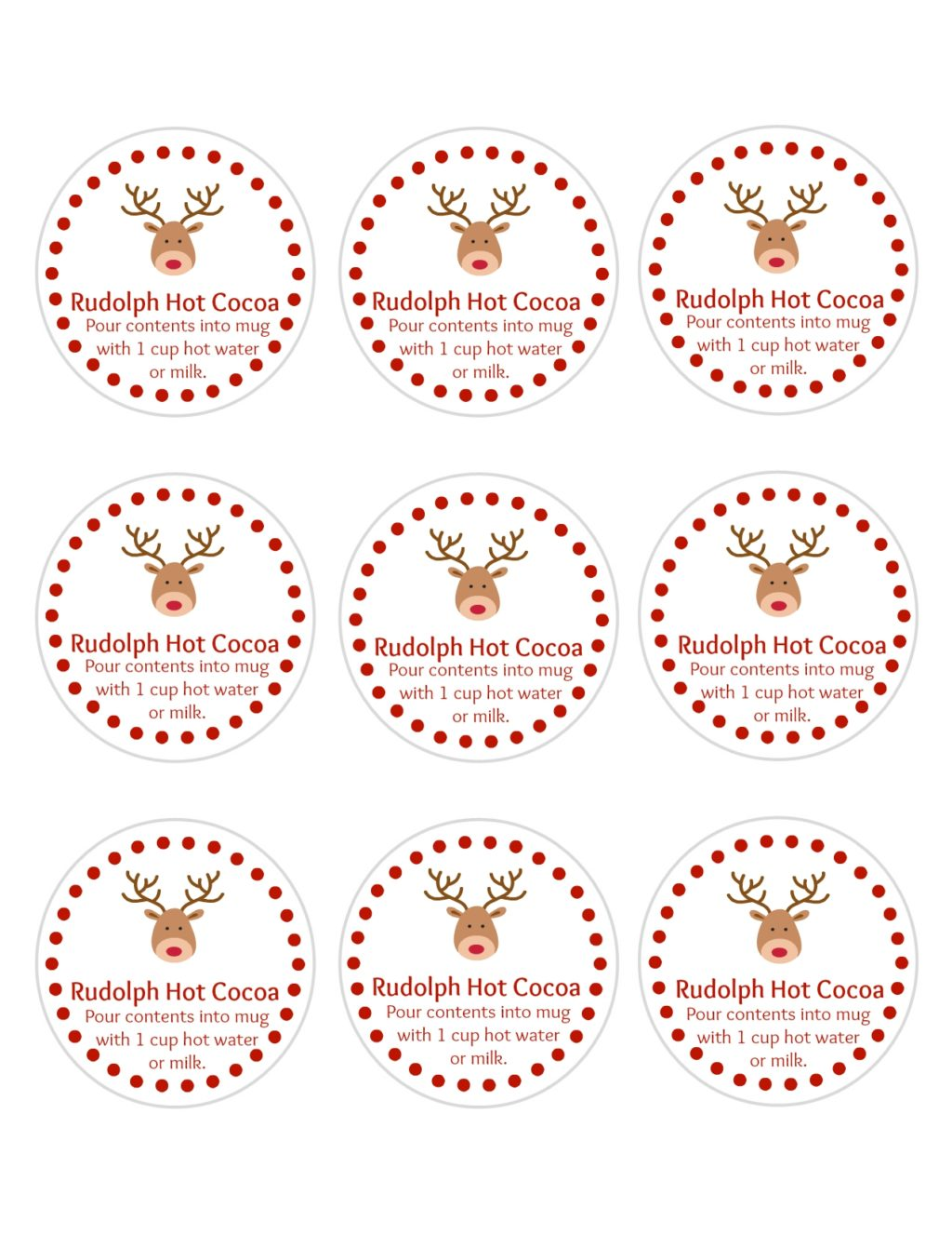 DIY Rudolph Hot Cocoa Holiday Gifts Free printable gift tags
