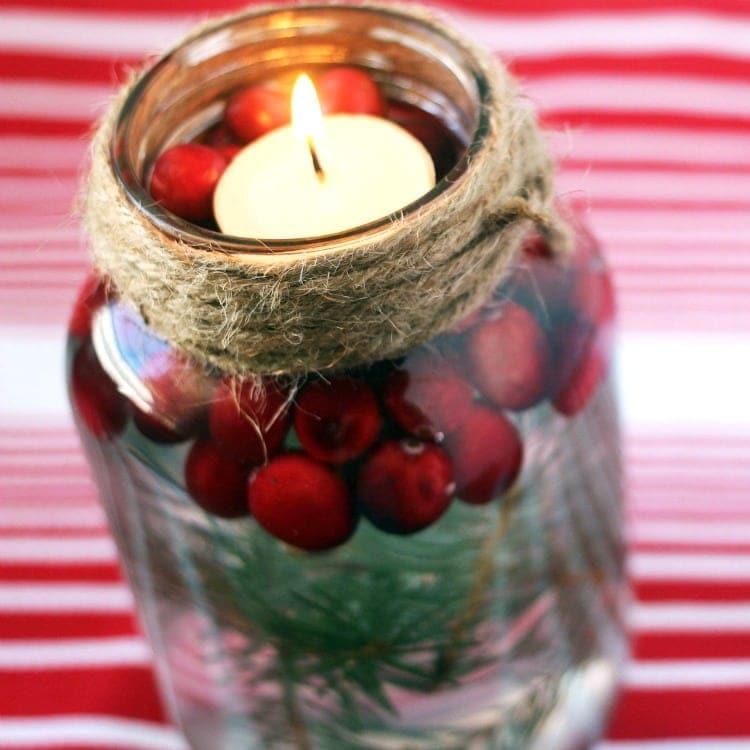 diy holiday mason jar floating candle. Black Bedroom Furniture Sets. Home Design Ideas
