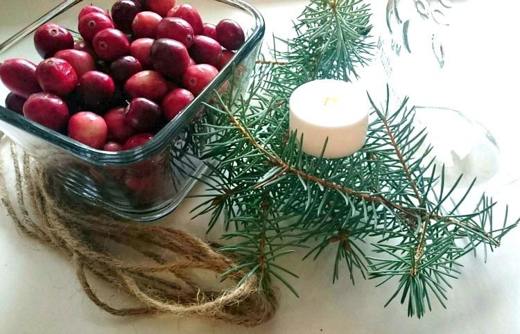 cranberry pine mason jar floating candle