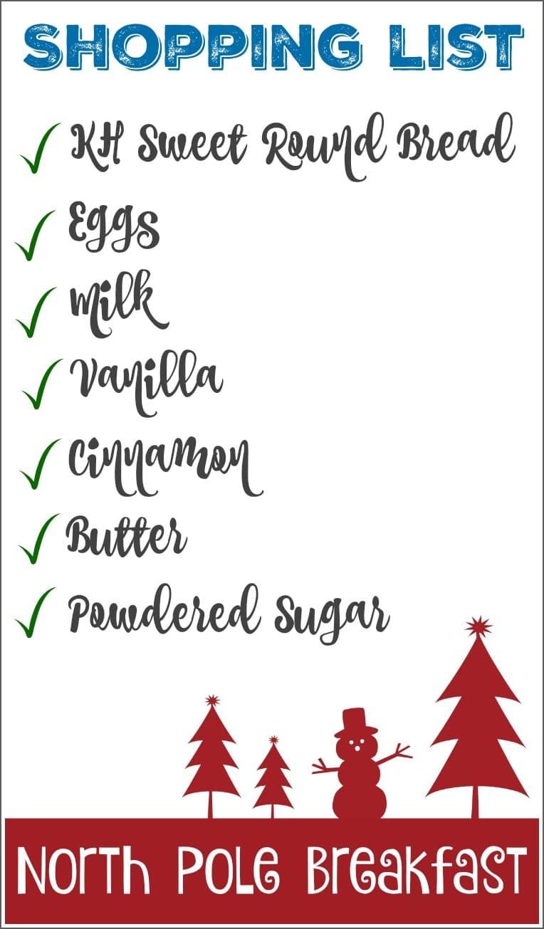 north pole breakfast list