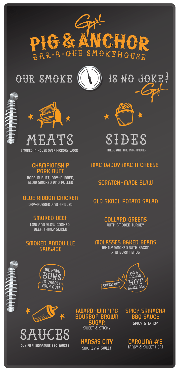 Guy's Pig & Anchor Bar-B-Que Smokehouse menu