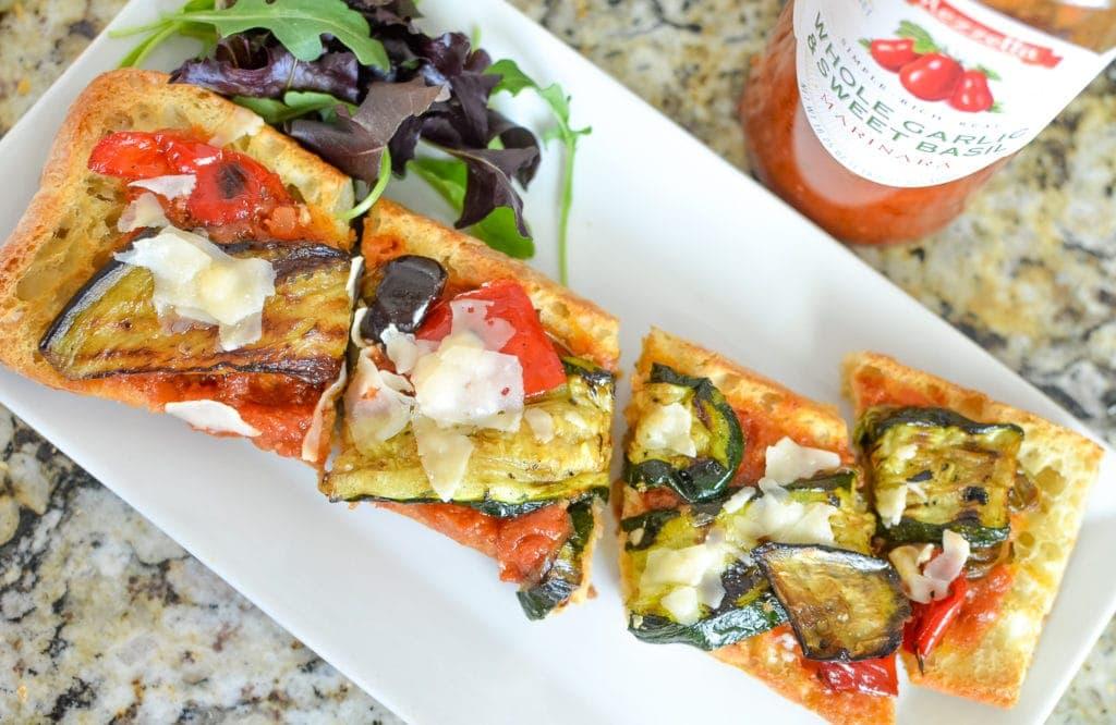 Grilled Zucchini & Eggplant Bruschetta Recipe made with mezzetta marinara