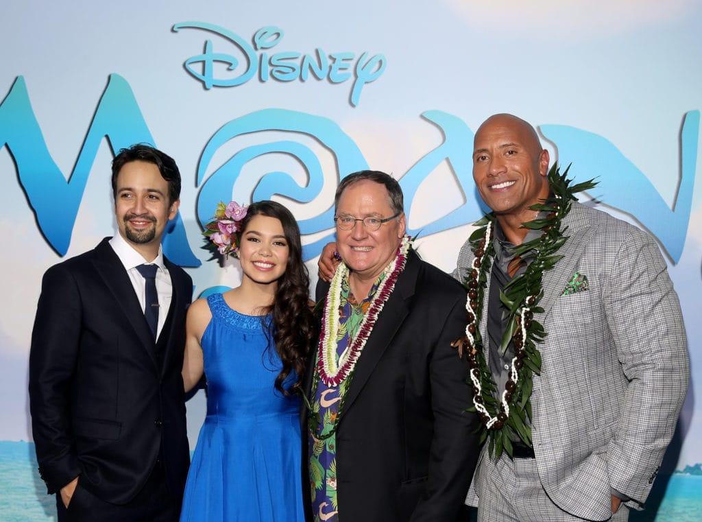 "HOLLYWOOD, CA - NOVEMBER 14: (L-R) Songwriter Lin-Manuel Miranda, actress Auli'i Cravalho, executive producer John Lasseter, and actor Dwayne Johnson attend The World Premiere of Disney's ""MOANA"" at the El Capitan Theatre on Monday, November 14, 2016 in Hollywood, CA. (Photo by Jesse Grant/Getty Images for Disney) *** Local Caption *** Auli'i Cravalho; Dwayne Johnson; Lin-Manuel Miranda; John Lasseter"