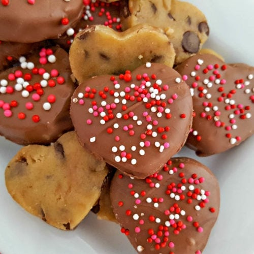 no-bake Chocolate Covered Cookie Dough Hearts