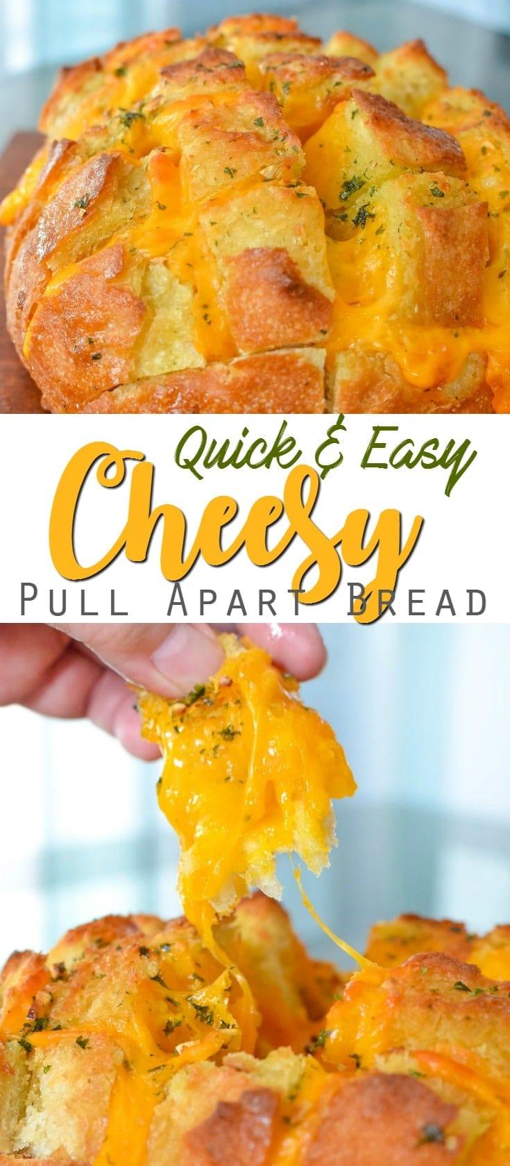 quick and easy cheesy pull apart bread recipe