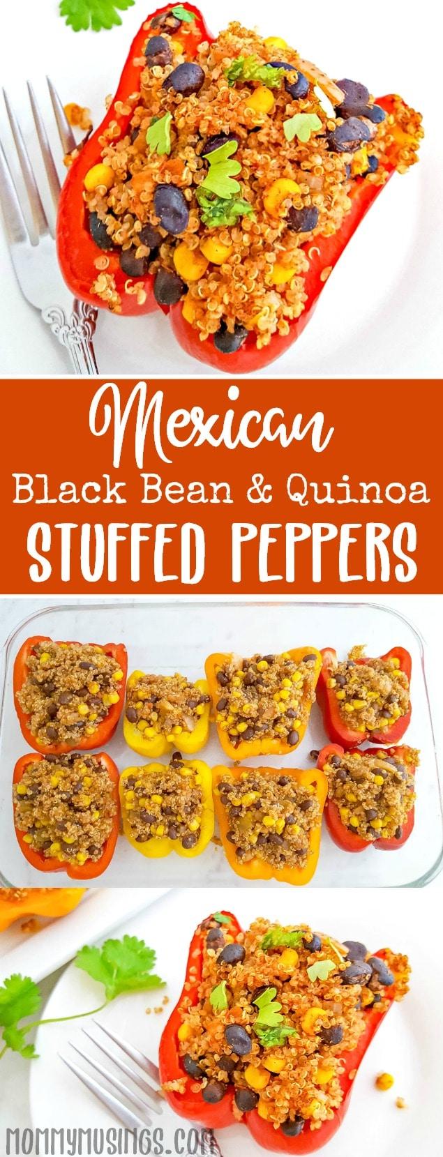Mexican Black Bean & Quinoa Stuffed Peppers