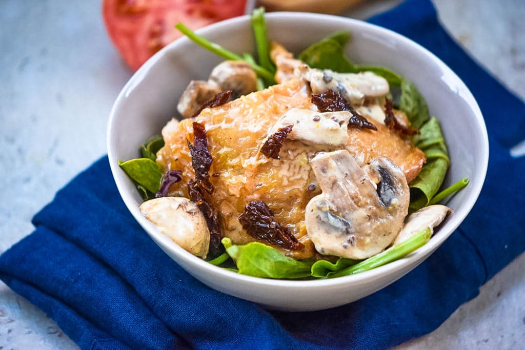 italian baked chicken with mushrooms in cream sauce