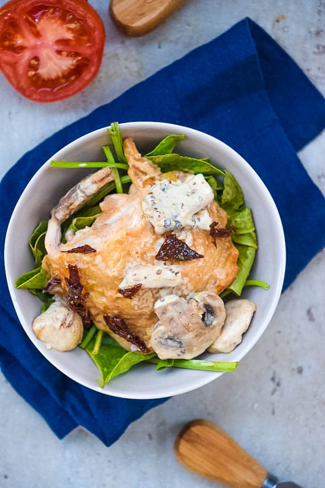 italian baked chicken with sun-dried tomatoes and mushrooms in a cream sauce
