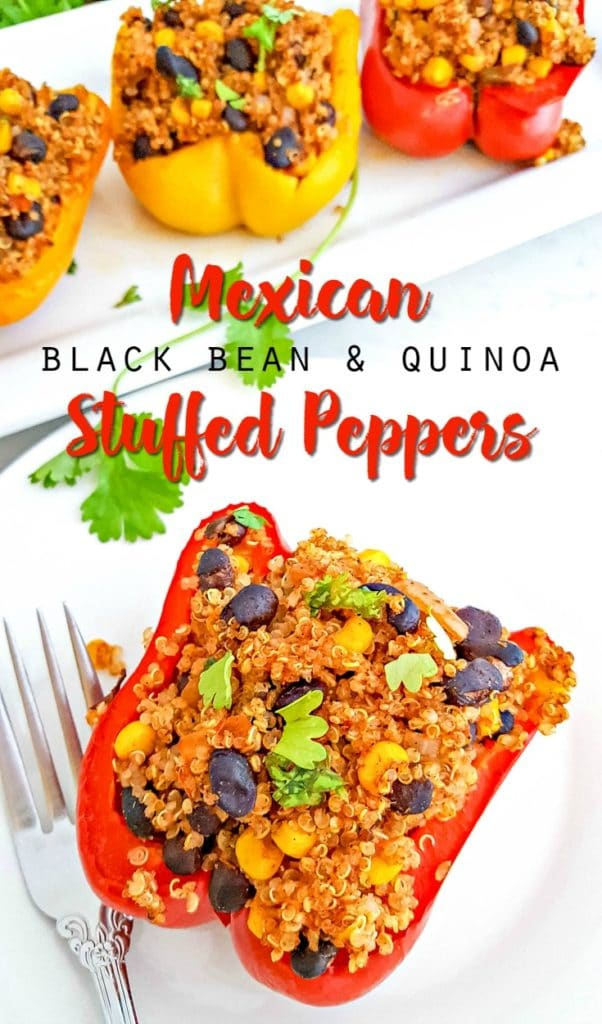 vegetarian mexican black bean and quinoa stuffed peppers