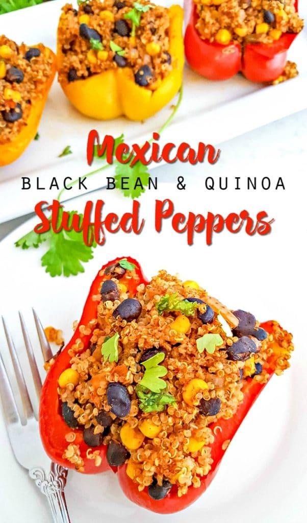 vegetarian mexican black bean and quinoa stuffed peppers