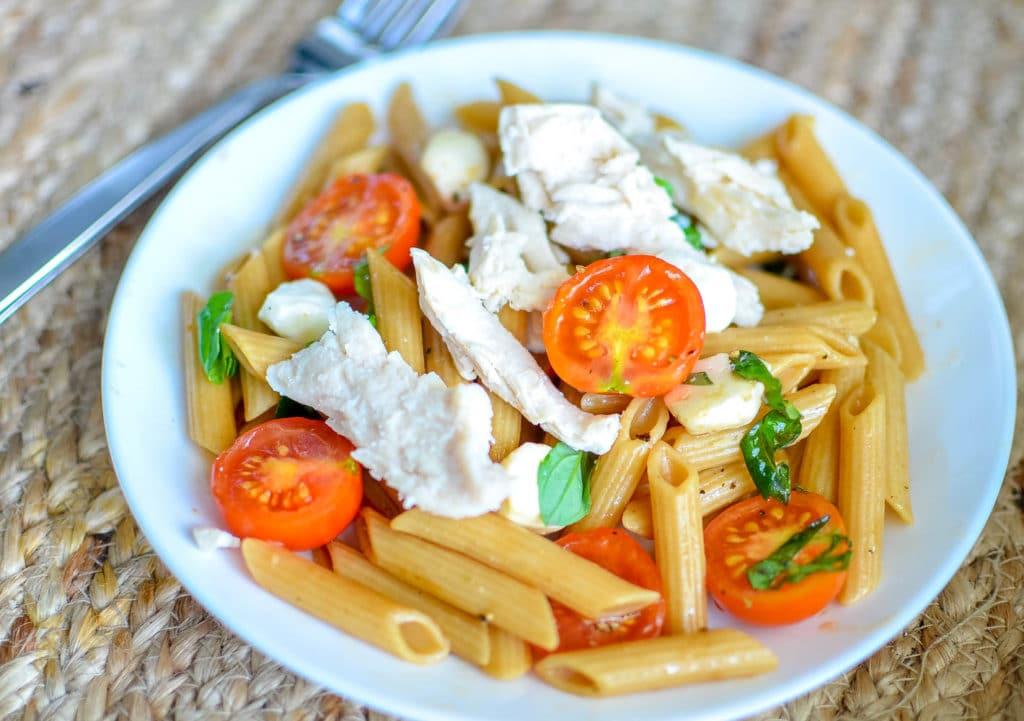 Caprese Pasta Salad with chicken