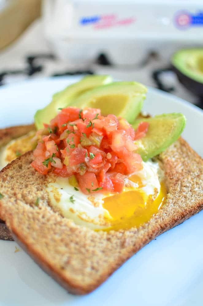 eggs in a basket avocado salsa