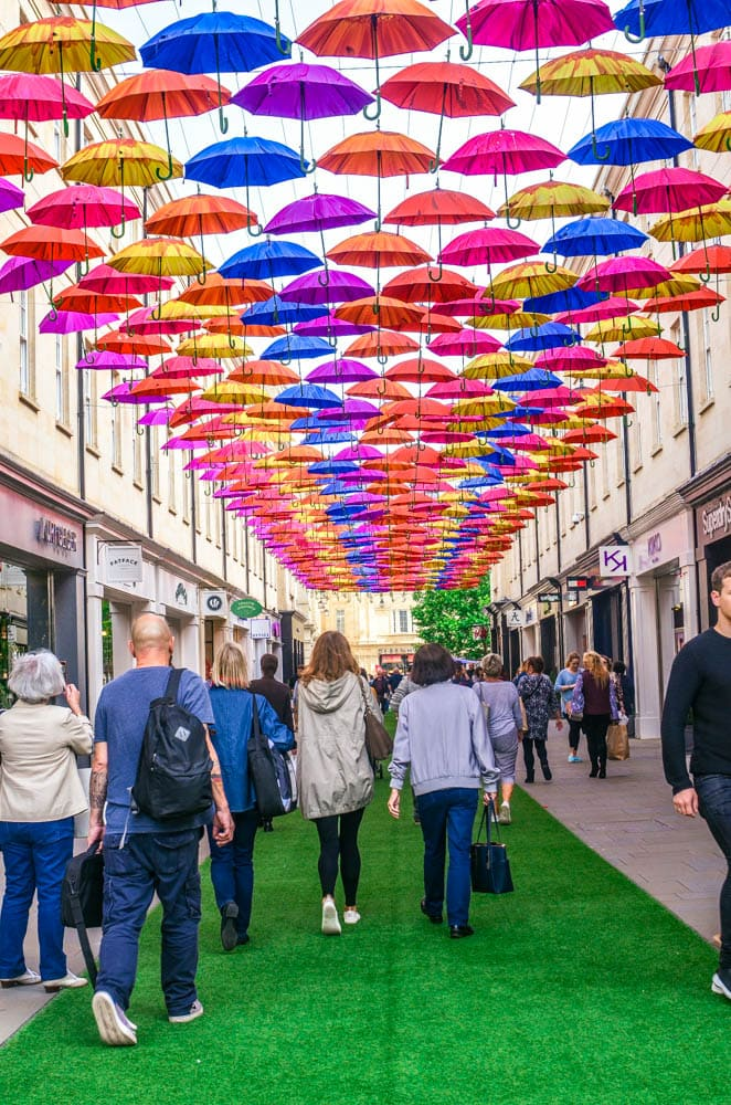 colorful umbrellas in Bath England