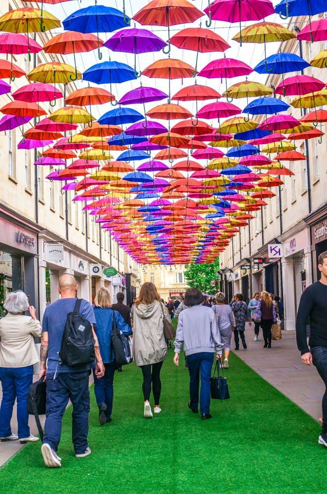 colorful umbrellas in Bath England