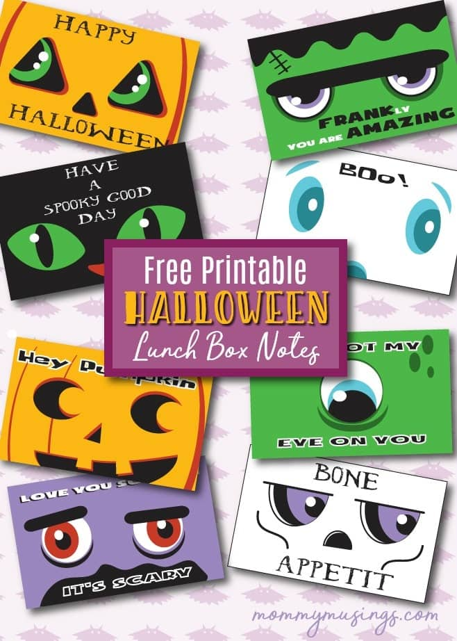 Free Printable Halloween Lunch Box Notes for Kids
