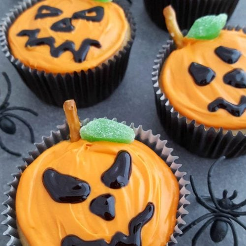 Jack-O-Lantern Cupcakes Recipe for Halloween