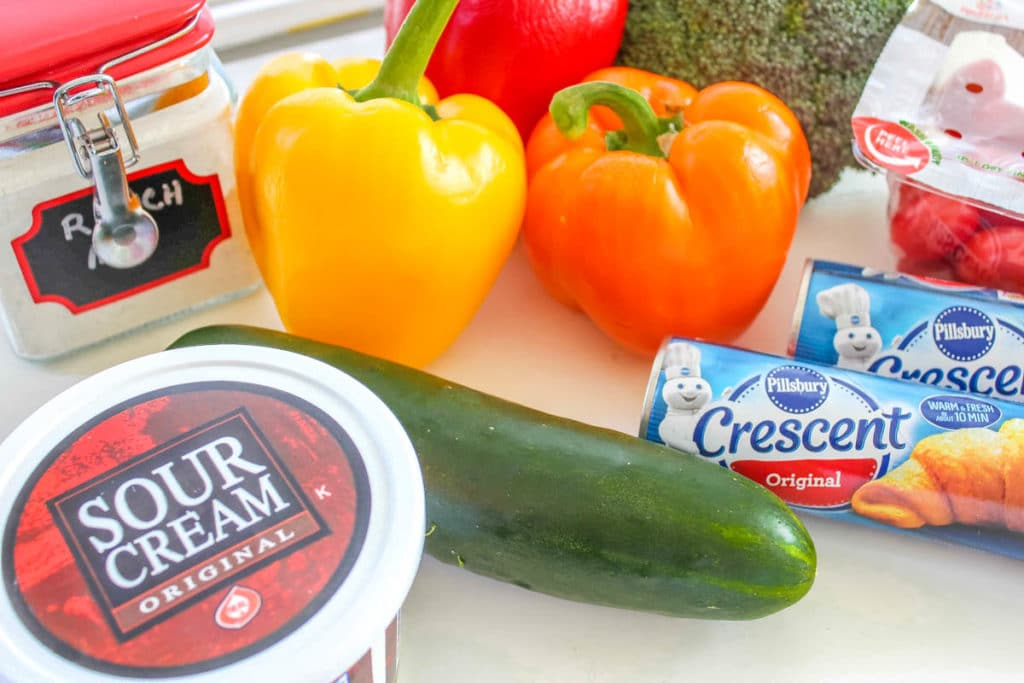 Crescent Roll Veggie Pizza Ingredients