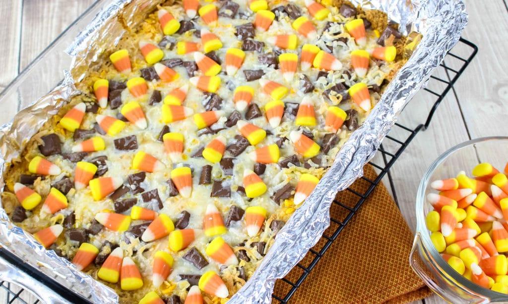 Candy Corn Magic Bars Recipe for Halloween