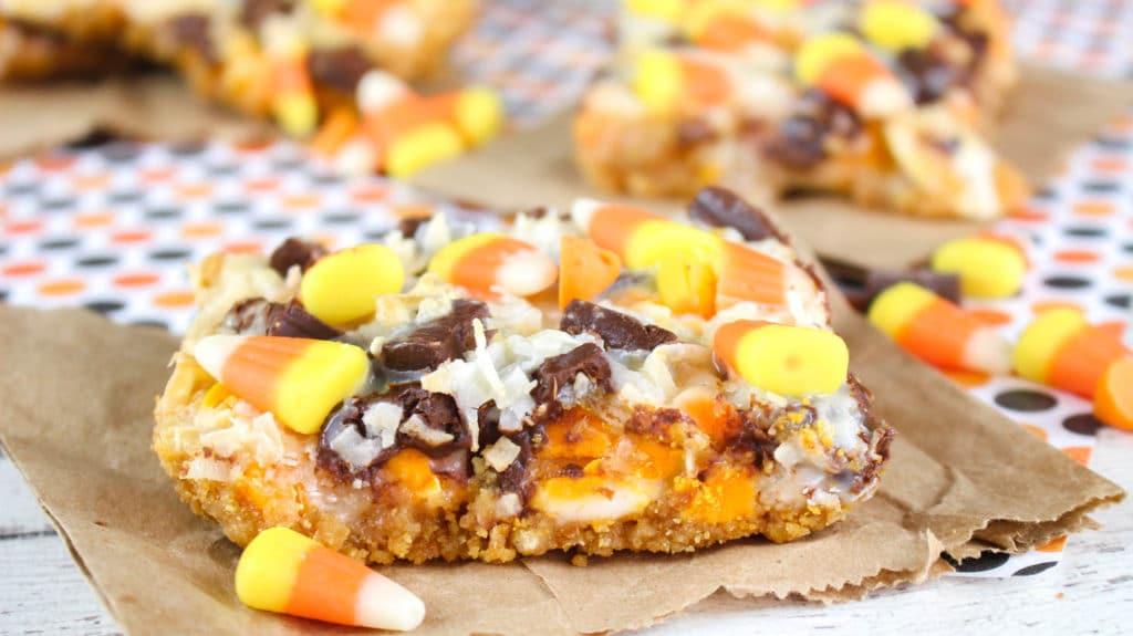 7 layer Candy Corn Magic Bars Recipe