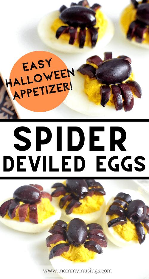 halloween deviled eggs that look like spiders
