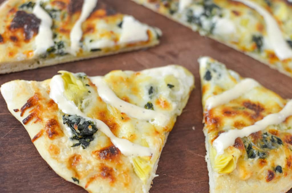 white sauce spinach artichoke pizza recipe