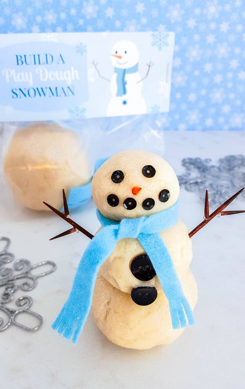 Diy Build A Play Dough Snowman Kit White Sparkly