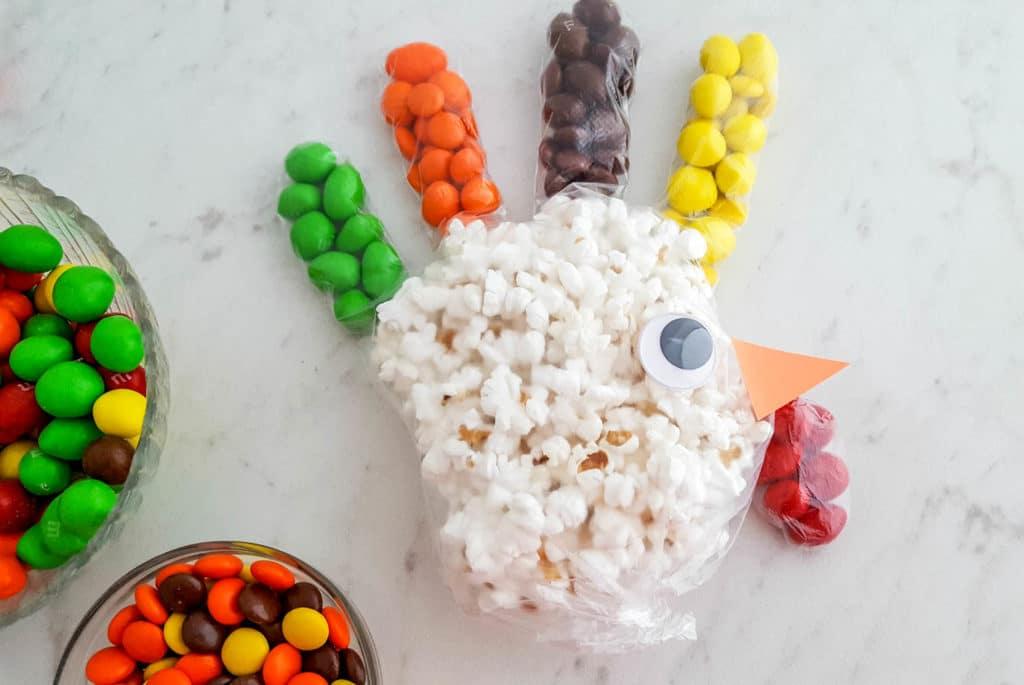 glove Turkey Popcorn Treat Bags thanksgiving