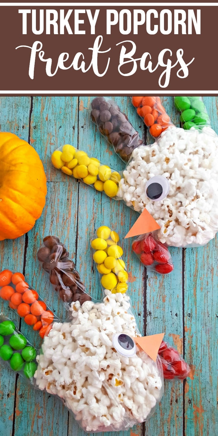 thanksgiving turkey popcorn treat bags